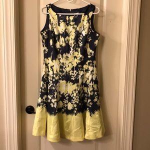 Charcoal/blue and yellow midi dress